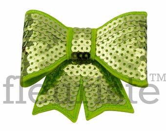 APPLE GREEN 3 inch Sequin Bows, Mini Sequin Bows, Mini Bows, Sparkly Bows, Fabric Bows, DIY Bows, Soft Bows, Wholesale Bows, Diy Headband