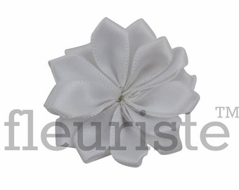 WHITE Ribbon Flower, Satin flower, Fabric rose, Rolled Rosette, Wholesale Flower, Fabric Flower, Satin Flower, Satin Flowers, 3pc