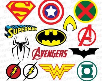 Super Heroes SVG Files, Super Hero Cricut Cut File, Vinyl Cutters Die Cut Machine, Silhouette Studio Monogram, Design Shape Instant Download