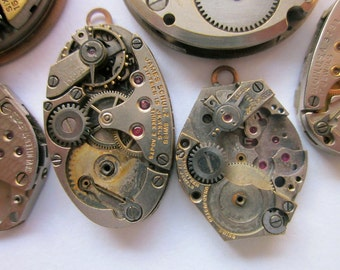 6 Vintage Watch Pendants, Mixed Lot Shapes and Sizes, Group #3
