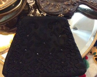 Black beaded bag, evening bag, black beaded purse