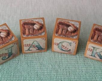 Baby Name Blocks - Vintage baseball name blocks - Baby Shower Gift - Nursery decor - Personalized name Blocks - Baseball - Vintage