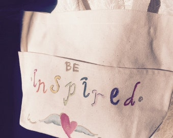 "Hand painted canvas ""Be Inspired"" tote"