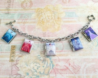 CLEARANCE SALE- The Selection Miniature Book Charm Bracelet- Book Locket Bracelet