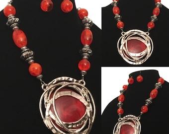 Tangerine Tango Orange & Silver Beaded Pendant Statement Necklace and Earrings