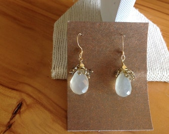 Beveled Quartz teardrop with accents