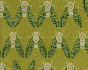 1/2 YD or 1 YARD linen/cotton Canvas Fabric ~ Cicada Song Pear