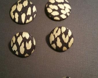 Black ans Gold Fabric Pierced Button Earrings