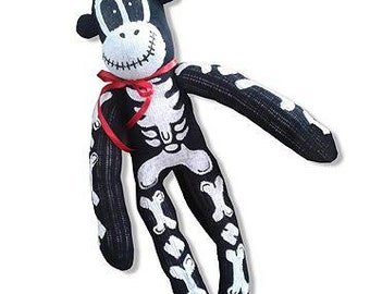 Skeleton sock monkey by Twisted Pippy
