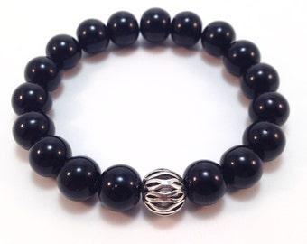 Black Onyx natural gemstone bracelet with Tibetan Silver