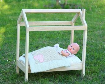 House framed doll bed