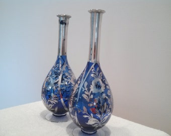 Pair of cobalt blue and silver vases, thin neck