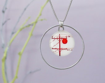 Telephone Pole and Red Sun - Medium Sterling Silver Hoop Necklace
