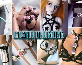 BJD Harnesses: You pick custom designs. Chokers, Garters, full sets and more.