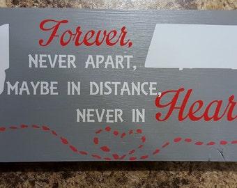 Family Apart, Family Apart Wood Plaque, Distance Apart Plaque, Family Forever Wood Plaque, States Apart Plaque