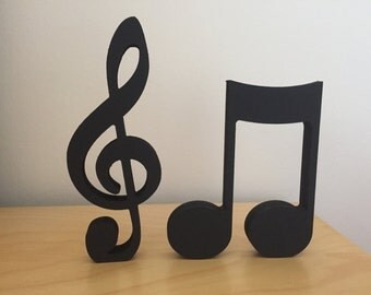 Hand Painted Wooden Musical Notes / Treble Clef Set