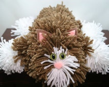 Soft Brown Yarn Cat Collectible, Brown and White Yarn Kitty with Green Cat Eyes, Handmade Yarn Pom Pom Cat, Stuffed Animal Alternative