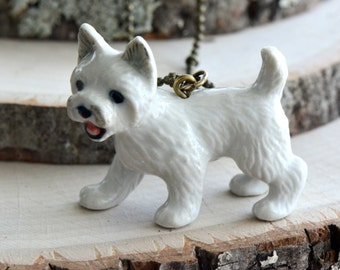 Hand Painted Porcelain Westie Dog Necklace, Antique Bronze Chain, Vintage Style Puppy, Ceramic Animal Pendant & Chain (CA080)