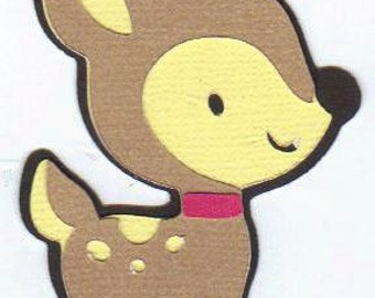 Baby Fawn Die Cut, Deer die cut for Cards, Embellishments. Fawn paper piercing.