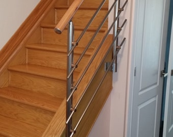 Modern Stairs Balcony Hand Rail Staircase Railing Kit   Aluminium Side  Connected