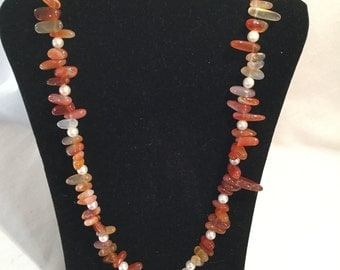 Red Agate nugget and pearl necklace