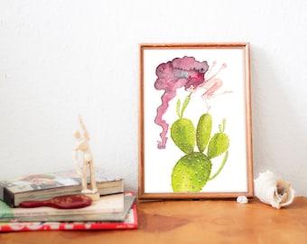 Watercolors, Illustration, Cactus, Print, Wall Art Decor - KAKTUS LOVE