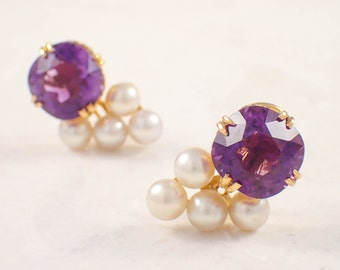 14k Yellow Gold Amethyst and Pearl Earrings