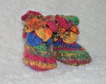 Newborn Booties, Baby Booties, Multicolour Baby Booties, Hippie Baby Booties, Crochet Booties, Crocodile Stitch, Handmade booties, Rainbow
