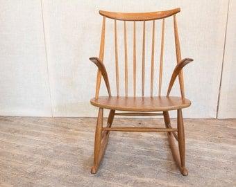 Mid Century Modern, Danish Modern Rocking Chair by Illum Wikkelsø