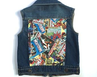 Boys' Marvel Superhero Denim Vest (9/10) | custom denim | marvel comics | superheroes | boys denim | jean vest