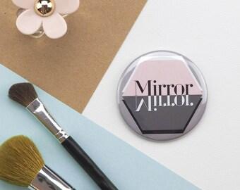 Geometric Pocket Mirror, Mirror Mirror Design, Typographic Small Mirror, Travel Mirror