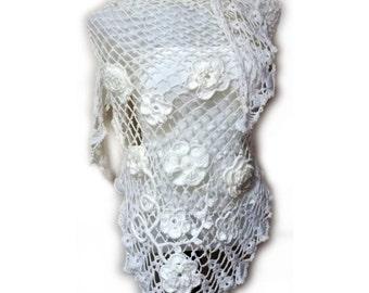 White Bridal Shawl, Flower Shawl, Bridal shrug, Wedding shawl, Bridal bolero, Winter wedding, Crochet shawl, Bridal wrap, Gift