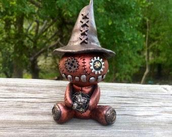 Steampunk Figurine Wizard Magic Gears Wizard hat