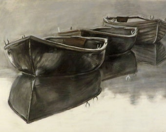 Three Boats on a pond in the fog