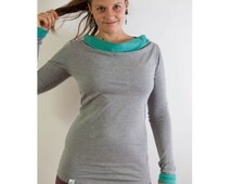 gray organic longsleeve, size 36 38 40 42, Long Sleeve, Jersey, with a large piece cut collar, turquoise, cotton, ethical fashion