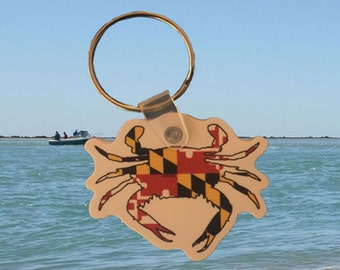 Maryland Flag Crab Keychain - MD Flag Crab - Maryland Crab Keychain