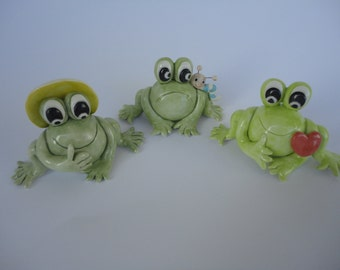 One cute ceramic frog- Handmade ceramic frog- gift idea- MADE TO ORDER