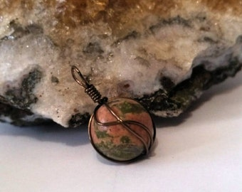 Unakite Wire Wrapped Pendant, Heart Chakra, Charm