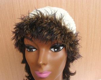 Vintage Ivory Crochet Hat with Faux Fur Trim, Beige Crochet Beanie, Ivory Knit Beanie