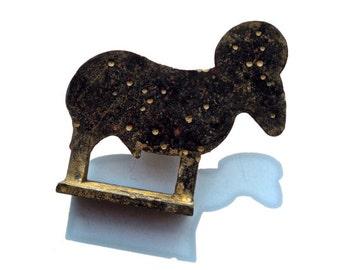 VINTAGE: Rustic Brass Ram Figurines - (00003580)