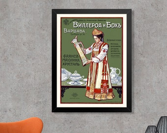 Villeroy & Boch Vintage Russian Advertising Poster Print