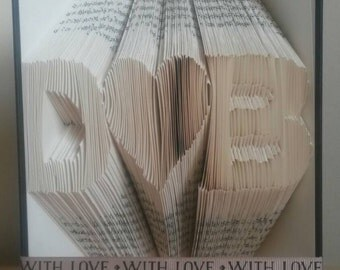 Personalised folded book art love heart with initials -first 1st paper wedding anniversary gift