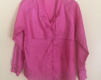 DVF Diane Von Furstenberg Hot Pink Blouse