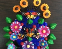 Mexican Magnet or Pin Catrina or Butterflies