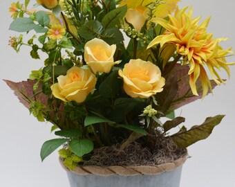 Faux, Silk Yellow Roses Floral Arrangement, Flower Arrangement