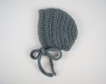 Simple Baby Bonnet-Gray