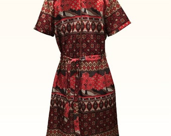 Vintage 1960s Leo-Danal Trevira Brown and Red Flowered Dress