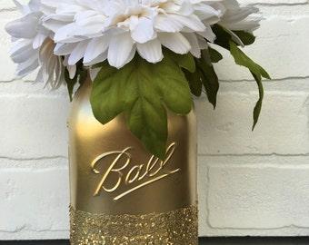 Gold Glitter Mason Jar