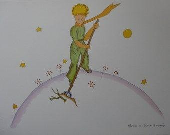 Antoine de Saint Exupéry: The little Prince gardener, lithograph signed