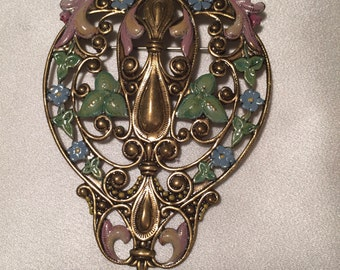 Art Nouveau Brooch/Pin -- Etched and Painted Brass